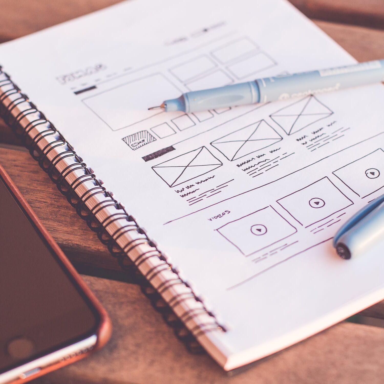 тетрадь, ручка, айфон, дизайн